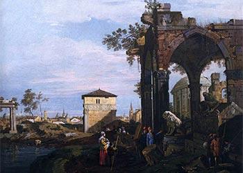 Canaletto Capriccio Con Rovine E Porta Portello A Padova