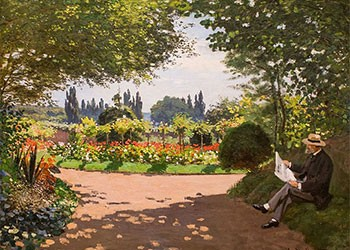 Adolphe Monet In The Garden Of Le Coteau At Sainte Adresse