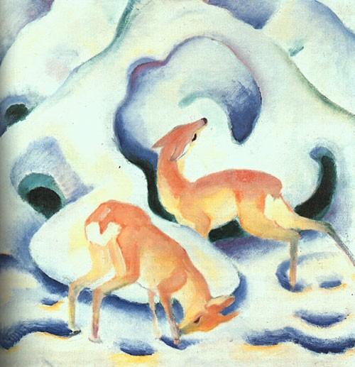 Puzzle Cavallo Blu Franz Mark Cervi Nella Neve