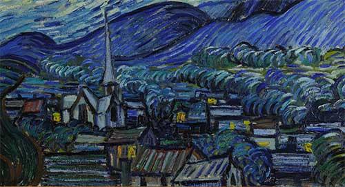 Puzzle Notte Stellata Van Gogh Colline Dettaglio